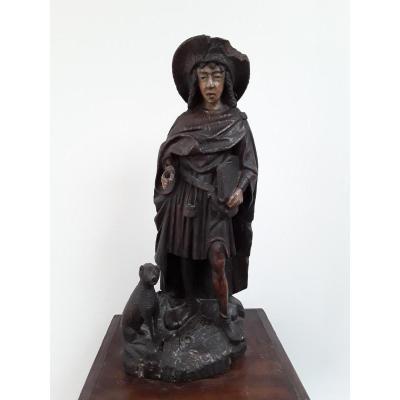 Saint Roch ,bois Sculpté  Polychrome Vers 1500