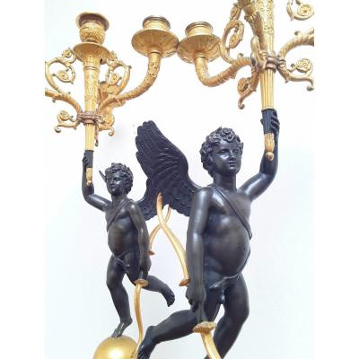 Great Pair Of Candelabra In Love, Bronze, 19th