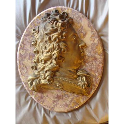 Grand Médaillon Portrait Louis XIV Bronze Doré Et Marbre Veiné