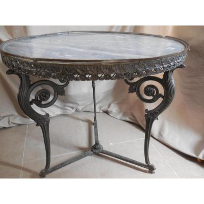 Pedestal Dining Cast Iron And Bronze Marble Top