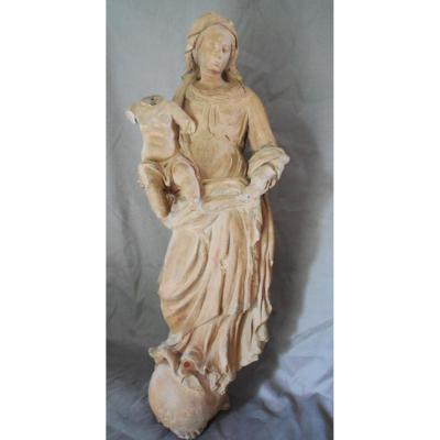 Grande Vierge En Terre Cuite 17ème, Probablement Anvers