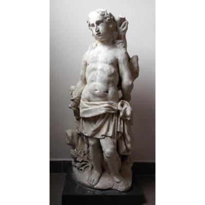 Saint Sebastian, Flanders 16th, Signed, Limestone