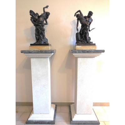 Très Belle Paire De Bronzes, 19ème