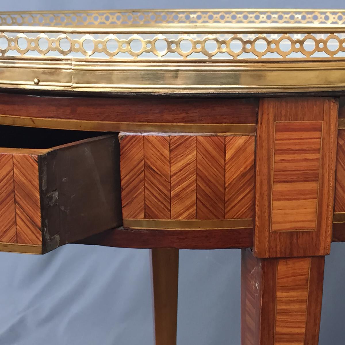 Table Bouillotte Louis XVI En Marqueterie-photo-3
