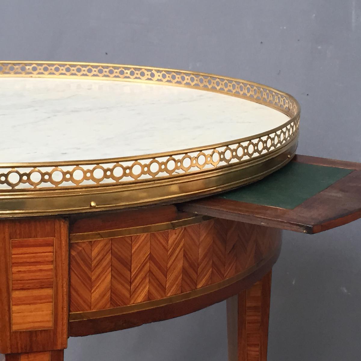 Table Bouillotte Louis XVI En Marqueterie-photo-1