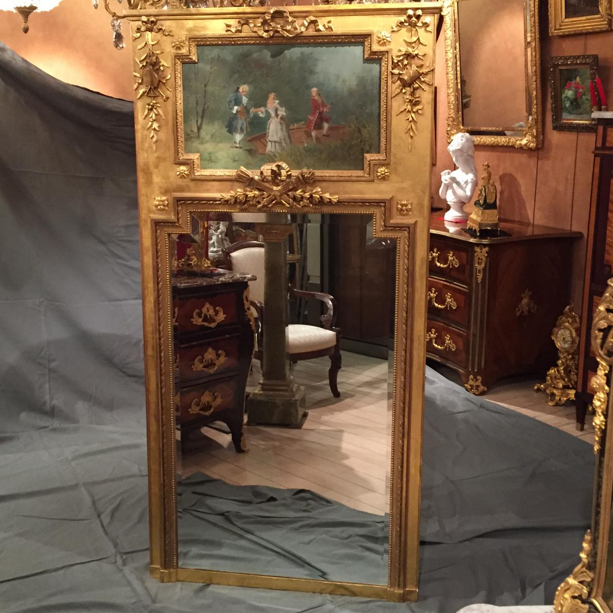 miroir trumeau de style louis xvi d 39 poque xix me trumeaux. Black Bedroom Furniture Sets. Home Design Ideas