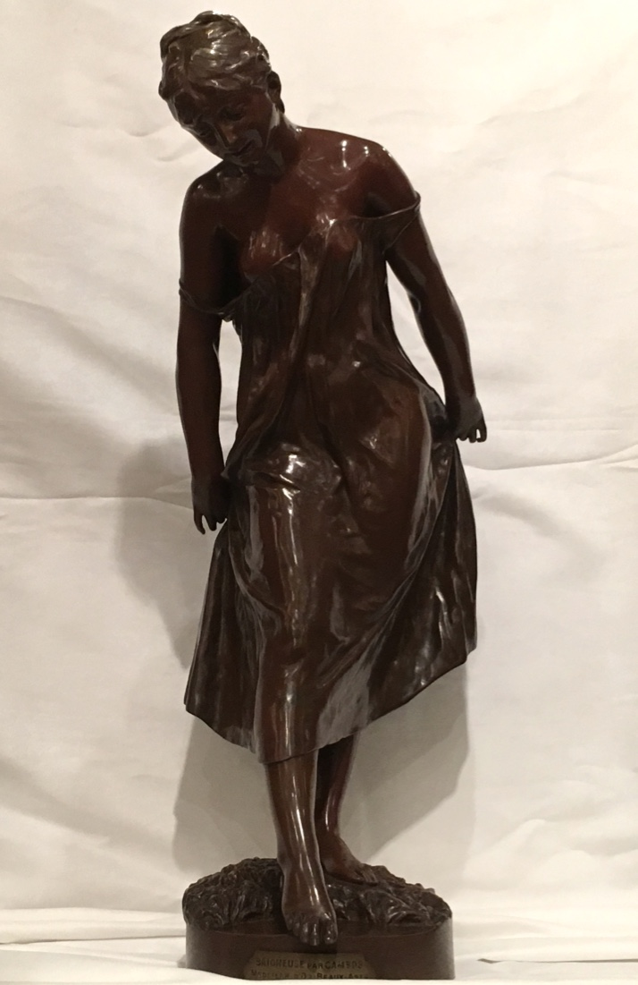 "Bronze Sculpture Signed Cambos, ""bather"" XIXth"