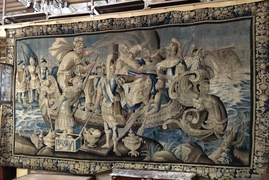 """Tapisserie d'Aubusson """"le Retour d'Hélène à Sparte"""" époque XVIIème"""