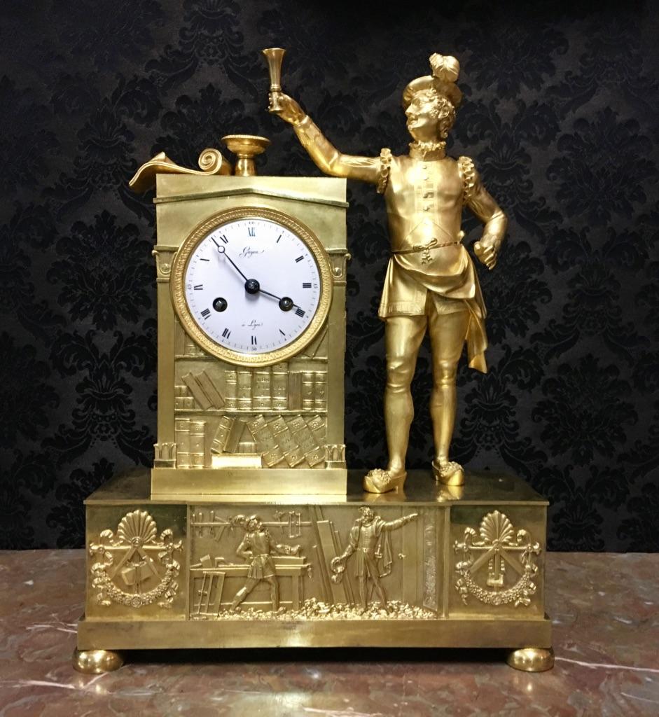 Masonic Clock Signed Guyon In Lyon, XIXth