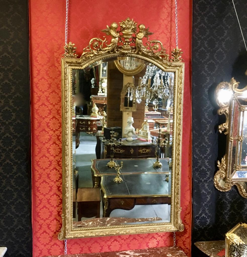Mirror Aux Deux Amours, XIXth, H: 1,85m-photo-3