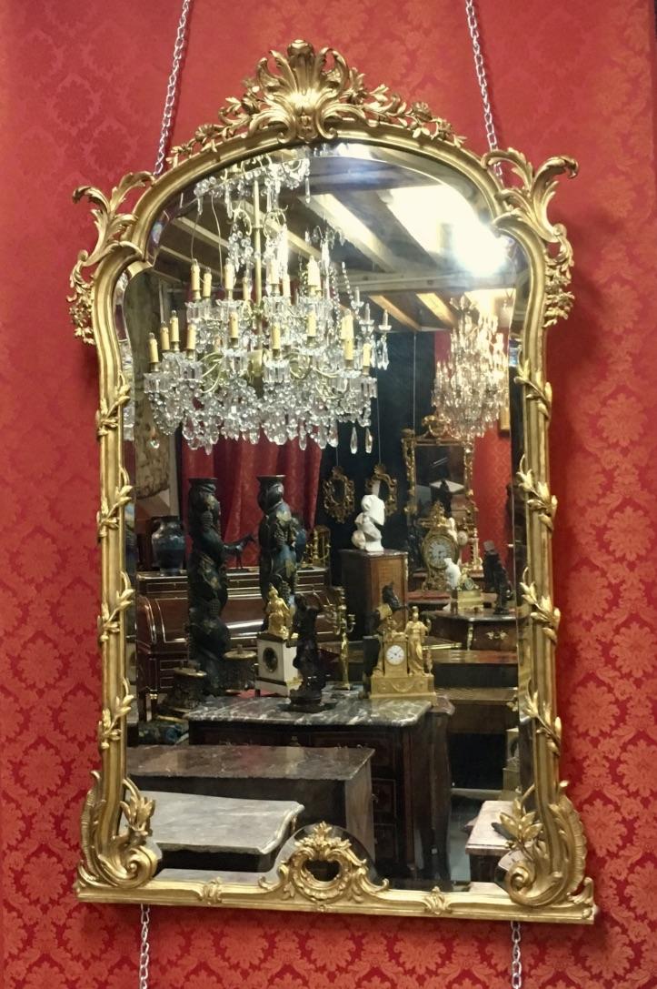 Miroir à Coquille Et Volutes, H:1,68m, époque XIXème