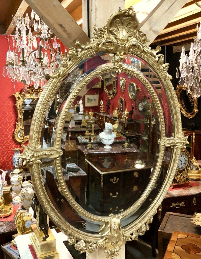 Miroir Doré De Forme Ovale, à Pare-closes, H:1,50, époque XIXème