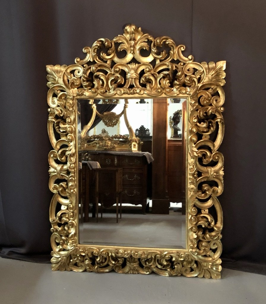Mirror Carved And Gilded Wood Leaf, Italy XVIII