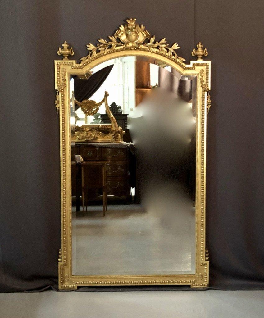 Miroir En Bois Et Stuc Doré à Coquille Feuillagée Et Urnes, époque XIXème