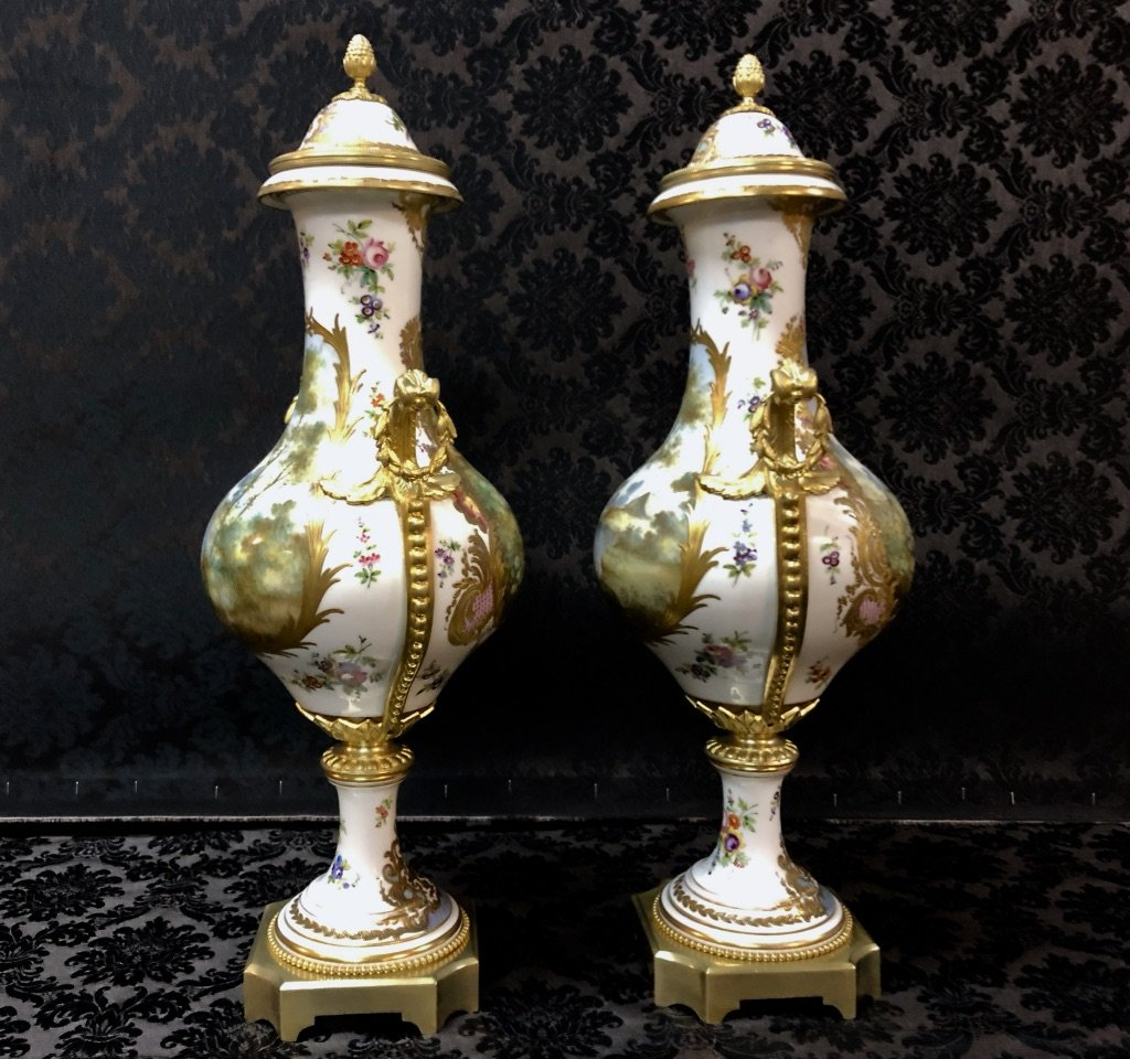 Importante Paire De Vases Forme Balustre En Porcelaine De Sèvres Datée 1840-photo-6