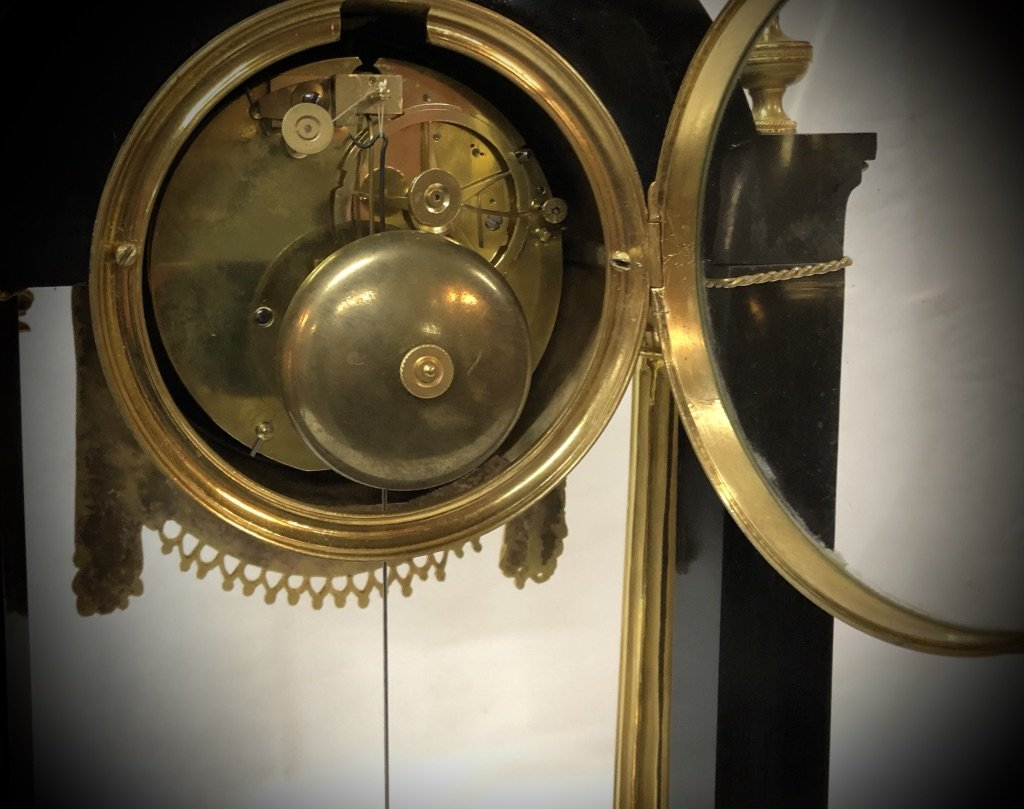 Pendulum In Black Marble And Gilded Bronze Late 18th Century-photo-1