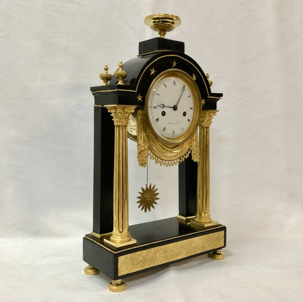 Pendulum In Black Marble And Gilded Bronze Late 18th Century-photo-5