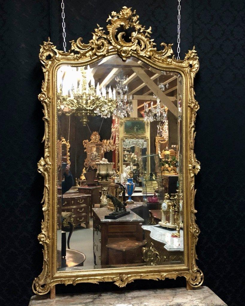 Miroir Doré à Coquille Ouverte H/195 époque XIXème