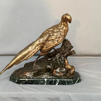 """Sculpture En Bronze """"faisan Et Belette"""" Signée Moigniez Jules"""