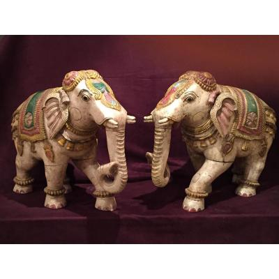 Paire d'éléphant En Bois Polychrome, époque XIXème