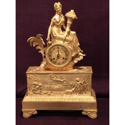 Pendule En Bronze Doré d'époque XIXème