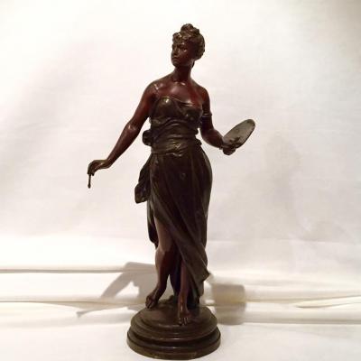 """Bronze """"une Artiste"""" Signée Debut époque XIXe"""