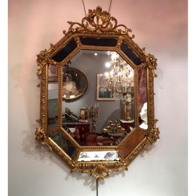 Miroir De Forme hexagonale, à Parcloses, d'époque XIXème