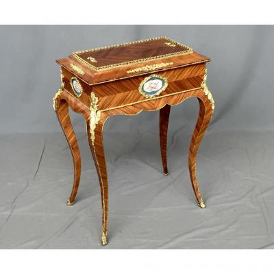 Table Jardinnière Avec Médaillons En Porcelaine De Sèvres, d'époque XIXe