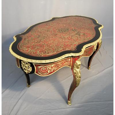 """Table De Salon En Marqueterie """"boulle"""", d'époque XIXème"""
