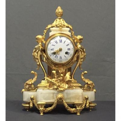 Pendule Louis XVI En Bronze Doré Et Onyx