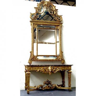 Ensemble Console Et Miroir Style Régence, En Bois Doré, époque XIXème
