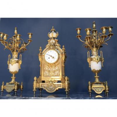Importante Garniture De Cheminée Signée F. Rotig Havre, d'époque XIXème