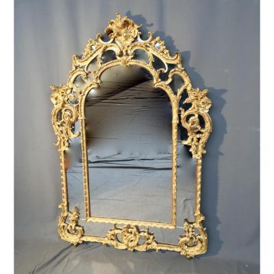 Miroir à Parcloses, En Bois Doré, d'époque Début XIXème
