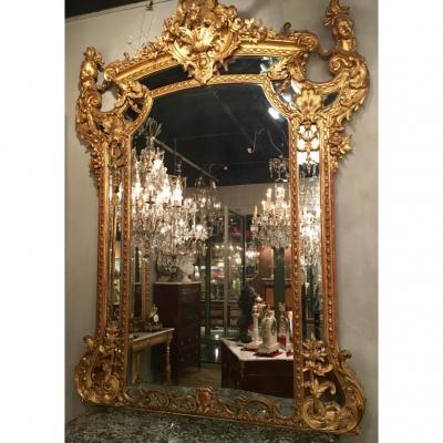 Important Miroir De Château Modèle Régence, d'époque XIXème
