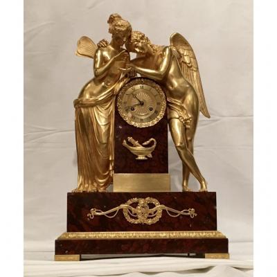 """Importante Pendule """"amour Et Psyché"""" Signée Rieussec Horloger Du Roi Louis XVIII"""