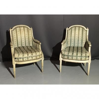 Pair Of Bergère Lacquered Wood Stamped Jb Boulard, Eighteenth Time