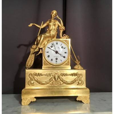 Pendule En Bronze Doré Signée Geiser époque Empire