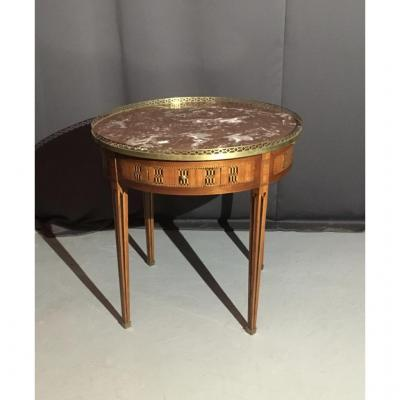 Large Bouillote Table Louis XVI In Marquetry