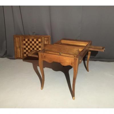 Table Tric-trac En Noyer Et Marqueterie d'époque XVIIIème
