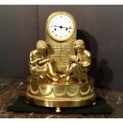 Pendule En Bronze Doré Signé Le Fèvre à Paris, époque XIXème