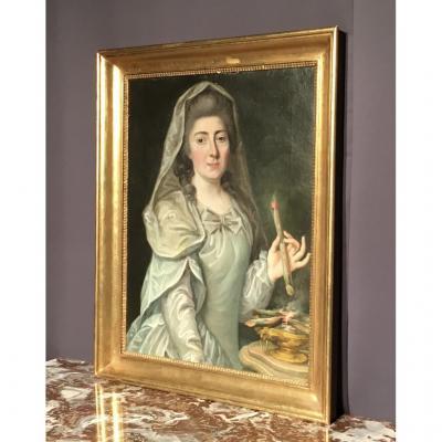 """Tableau """"marquise De Gras"""" Signé Maurice De Nancy 1730-1820"""