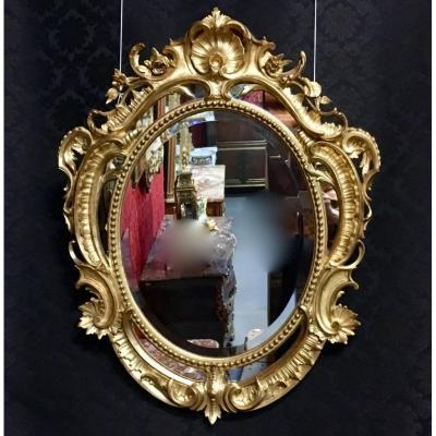 Miroir Oval à Parcloses, Coquilles Et Volutes, époque XIXème