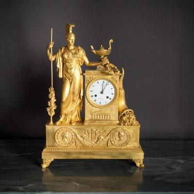 Importante pendule En Bronze Doré époque Empire, XIXème Siècle