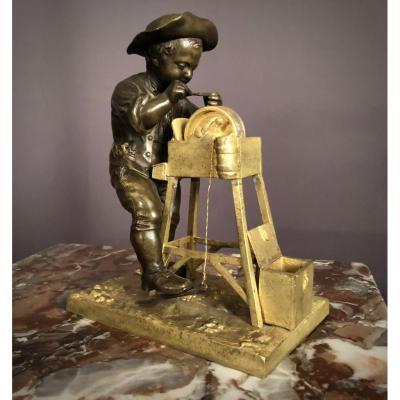"""Sculpture En Bronze """"le Rémouleur"""" Signé Charles Menne (1854-1940)"""