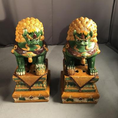 Spectacular Pair Of Fô Dogs Enamelled Stoneware From China, Nineteenth Time