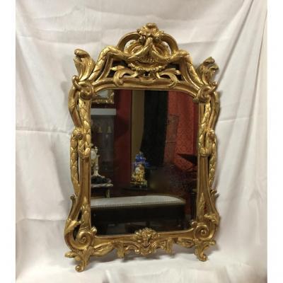 Miroir En Bois Doré à Décors Sculptés, H:105cm, époque XVIIIème