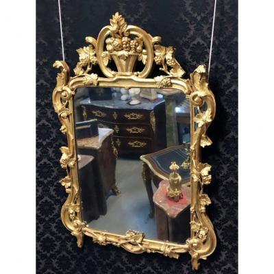 Miroir En Bois Doré à Décor De Corbeille De Fruits,H:131cm, époque XVIIIème