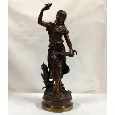 """Sculpture En Bronze """"charmeuse"""" Signée H. Moreau, époque XIXème"""