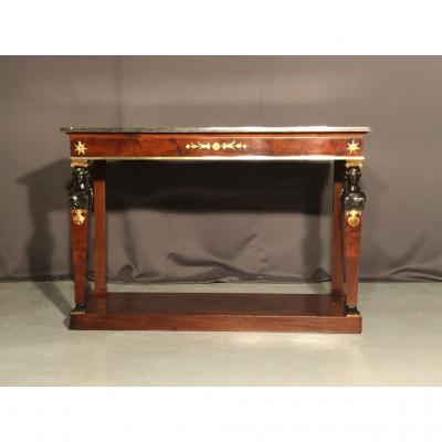 Mahogany Empire Console, Cariatides In Blackened Wood, Nineteenth Time