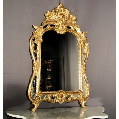Miroir En Bois Doré, Pare-closes, Coquilles Et Volutes H:118